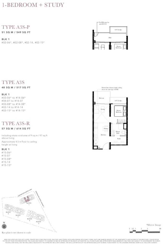 the garden residences 1 bedroom study floorplan