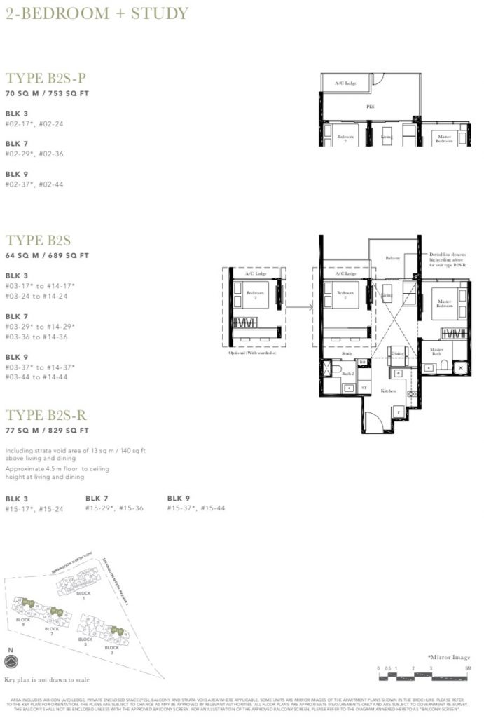 the garden residences 2 bedroom study type b2sp floorplan